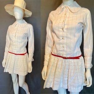 Vintage Mod White & Red Minidress by Joseph Magnin